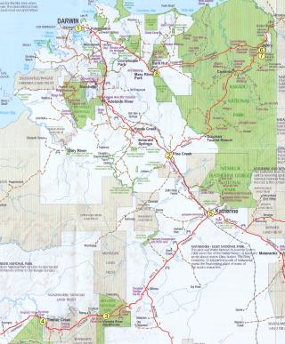 Map showing the route we take on the 'Best of Top End Birding' tour. The numbers signify our location for each night.  (photo copyright Tourism NT)