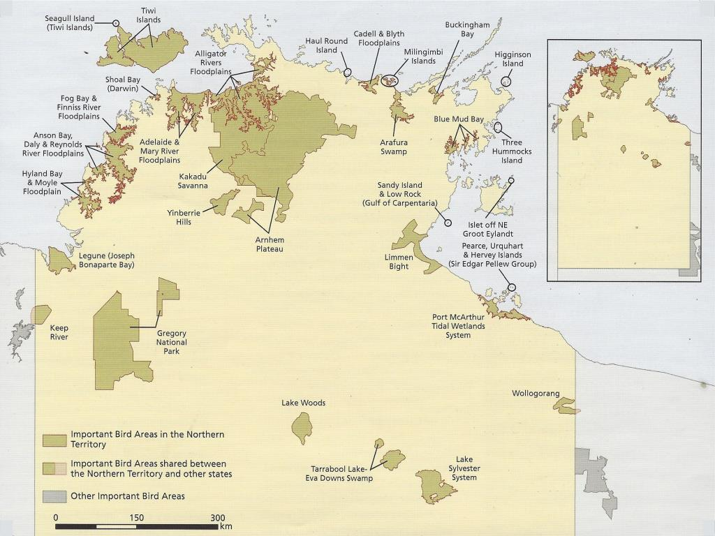 Northern Territory Important Bird Area map  (photo copyright Birdlife Australia)