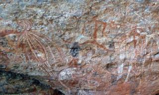 Rock art at Burrunggui  (photo copyright Jon Fink)