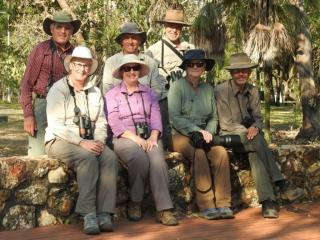 'Best of Top End Birding' August 2015 group posing on the last day at Charles Darwin National Park  (photo copyright Mike Jarvis)