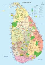 Sri Lanka Itinerary Map. Numbers represent location for the night of the tour.  (photo copyright Sri Lanka Tourism)
