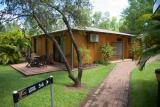 Comfortable, air-conditioned single roomed cabin at Cooinda Resort, Kakadu