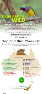 Top End Birds Checklist  (photo copyright Mike Jarvis)